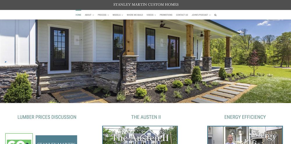Website for Stanley Martin Custom Homes