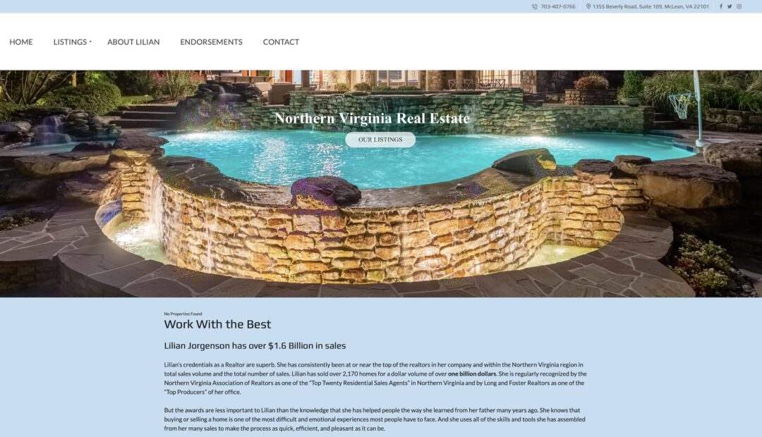 Website for Long and Foster Realtor